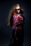 Model in checkered dress Royalty Free Stock Photography