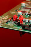 Model chemical team on a circuit board Stock Image