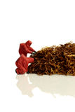 Model chemical team with tobacco isolated Stock Photo