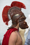 Model with chocolat Roman helmet during fashion show in Brussels Royalty Free Stock Photos