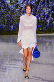 Model chodzi pas startowego podczas Christian Dior przedstawienia Obrazy Stock