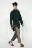Model chodzi przy Drewnianego domu prezentacją Fotografia Stock