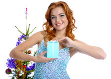 Model with christhmas present royalty free stock photos