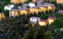 Model of a city architecture, buildings and park model Royalty Free Stock Photos