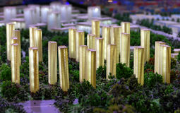 Model of a city architecture, buildings and park model Stock Photo