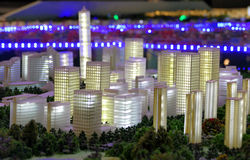 Model of a city architecture, buildings and park model Royalty Free Stock Images