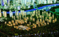 Model of a city architecture, buildings and park model Royalty Free Stock Photo