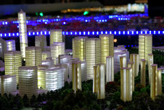 Model of a city architecture, buildings and park model Royalty Free Stock Image