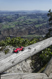 Model of classic car and breathtaking landscape Royalty Free Stock Image
