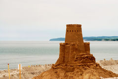Model clay castle on beach Royalty Free Stock Images