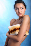 Model closing her bosom Stock Photos
