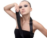 Model with cloth riband Stock Photography