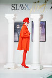 Model in coat on show of designer Slava Zaitsev Stock Photos