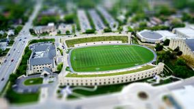Model of college with soccer field