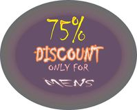 Model coller 75% discount only for mens model button icon images. Showing  mad finished round shape  75% discount only for mens ultimate offer colorful logo Vector Illustration