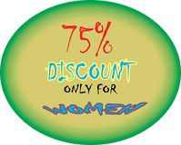 Model coller 75% discount only for women model button icon images. Showing  mad finished round shape  75% discount only for women ultimate offer colorful logo Royalty Free Illustration