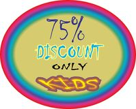 Model collerfill pink 75% discount only for kids model button icon images. Showing  mad finished round shape  75% discount only for kids ultimate offer colorful Stock Illustration