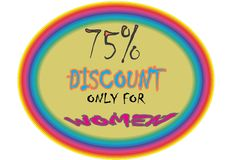 Model collerfill pink 75% discount only for women model button icon images. Showing  mad finished round shape  75% discount only for women ultimate offer Stock Illustration