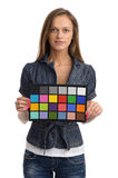 Model with color test card Stock Photography
