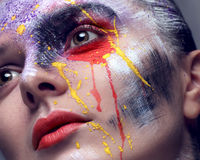 Model with colorful artistic makeup Royalty Free Stock Photos