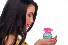 Model with colorful cupcake Royalty Free Stock Photo