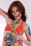 Model is colorfully painted Royalty Free Stock Photo