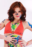 Model is colorfully painted Stock Photography