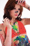 Model is colorfully painted Stock Photos
