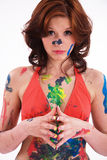 Model is colorfully painted Royalty Free Stock Photography