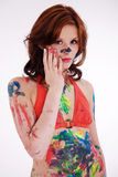 Model is colorfully painted Royalty Free Stock Images