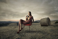 Model in the countryside Royalty Free Stock Photo