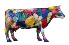 Model of a cow is ornamented by vegetables and fruit Royalty Free Stock Image