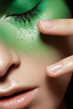 Model with creative make-up. Carnival herbal style royalty free stock photography