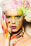 Model with creative makeup Stock Image