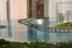 Model of the Crimean bridge in the Livadia Palace. Livadia, Crimea - June 25, 2018: Model of the Crimean bridge in the Livadia Palace stock photo