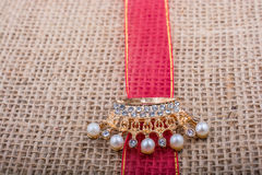 Model crown placed on a band on canvas Royalty Free Stock Photo