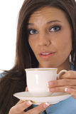 Model with cup of tea Stock Photos