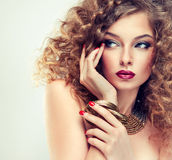 Model with curly hair Stock Photography