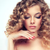 Model with curly hair Royalty Free Stock Photo