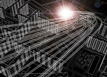 Model of 3d black and white city plan Royalty Free Stock Images