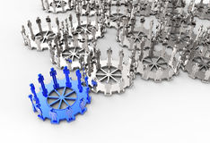 Model of 3d figures on connected cogs. As leadership concept Stock Photography