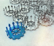 Model of 3d figures on connected cogs. As leadership concept with vintage style Royalty Free Stock Photography