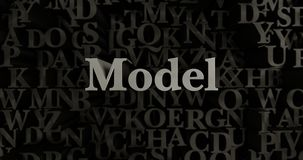 Model - 3D rendered metallic typeset headline illustration Royalty Free Stock Photo