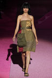 Model Daphne Groeneveld walk the runway at Marc Jacobs during Mercedes-Benz Fashion Week Spring 2015 Royalty Free Stock Photos