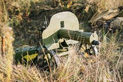 Model de mitrailleuse du ` s de maxime 1910 30 sur un bâti à roues du ` s de Vladimirov P.M. M1910 était une mitrailleuse lourde  Photographie stock libre de droits