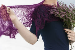 Model demonstrates knitted crochet scarf Royalty Free Stock Image