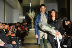 Model and designer Lily Montes walk the runway at the ANTINOO Menswear FALL 2017 Metamorphosis Collection Royalty Free Stock Photography