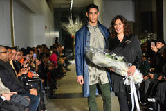 Model and designer Lily Montes walk the runway at the ANTINOO Menswear FALL 2017 Metamorphosis Collection Royalty Free Stock Photo