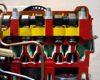 Model of a Diesel Engine. A cross section enables an inside view Stock Photo