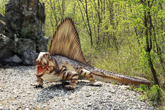 Model of Dimetrodon Dinosaur with Open Mouth Royalty Free Stock Images